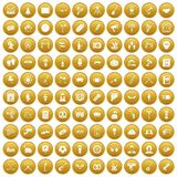 100 meeting icons set gold. 100 meeting icons set in gold circle isolated on white vector illustration Stock Image