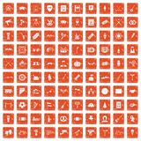 100 meeting icons set grunge orange. 100 meeting icons set in grunge style orange color isolated on white background vector illustration Stock Photo
