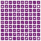 100 meeting icons set grunge purple. 100 meeting icons set in grunge style purple color isolated on white background vector illustration Royalty Free Stock Photography