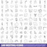100 meeting icons set, outline style Stock Photography