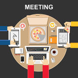 Meeting illustration. Meeting concept. Flat design illustration concepts for teamwork, team, meeting, discussion, business, eating. Meeting illustration. Meeting Royalty Free Stock Photography
