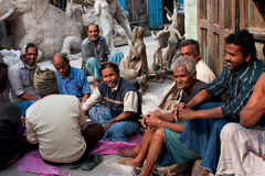 Meeting of the indian men outdoor for talking Stock Photo