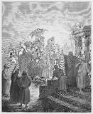 Meeting of Isaac and Rebekah. Picture from The Holy Scriptures, Old and New Testaments books collection published in 1885, Stuttgart-Germany. Drawings by royalty free illustration