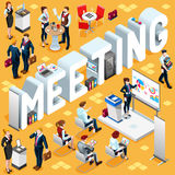 Meeting Isometric People 3D Icon Set Vector Illustration Royalty Free Stock Photo