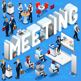 Meeting Isometric People 3D Set Vector Illustration Stock Photo