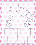 Meeting and love card. Cheerful card. two cute little birds met and fell in love.  illustration Stock Photo