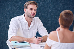 Meeting between man and woman about small business startups together Stock Photography