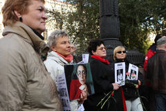 Meeting of memory of Anna Politkovskaya. Russia. Moscow. During the meeting on Clean Ponds, on the third anniversary of the death of journalist Anna Stock Photo