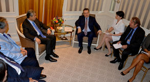 Meeting of the minister of Foreign Affairs of Serbia Ivica Dacic and Ahmad Zahid Hamidi, Deputy Prime Minister of Malaysia. NEW YORK, UNITED STATES - AUGUST 24TH Stock Image