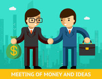 Meeting of money and ideas. Two businessmen Stock Photos