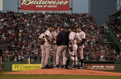 Meeting on the Mound, 2003 ALCS Game 3 Royalty Free Stock Images