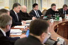 Meeting of National Security and Defense Council in Kiev Royalty Free Stock Images
