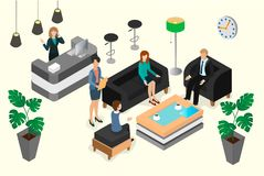 Meeting and negotiations of businessmen and businesswomen in the. Lobby of the hotel or bank. Isometric vector illustration Royalty Free Stock Images