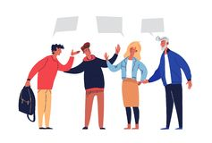 Meeting Negotiations Discuss Agreement Solution. People Conciliation Concept Perspective Partnership. Active Group with Leadership Agree Teamwork Plan Flat vector illustration