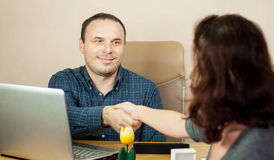 Meeting a new colleague. At the office Stock Image