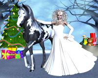 The meeting of the new year horse. Beautiful girl with a horse in the fairy forest Stock Photos