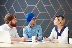 Meeting of newscasters Royalty Free Stock Images