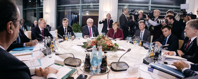 Meeting in Normandy format in Berlin Stock Photo