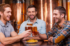 Meeting old friends in bar. Royalty Free Stock Photography