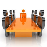 Meeting with orange leader stock illustration