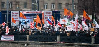 Meeting organized  by opposition in Moscow. Royalty Free Stock Image