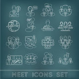 Meeting outline icons set Royalty Free Stock Photo