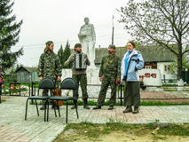 Meeting parish of the Orthodox Church in Kaluga region (Russia) with Orthodox bikers-Christians in 2014. Stock Photography