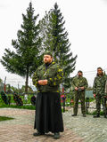 Meeting parish of the Orthodox Church in Kaluga region (Russia) with Orthodox bikers-Christians in 2014. Royalty Free Stock Photography