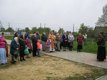 Meeting parish of the Orthodox Church in Kaluga region (Russia) with Orthodox bikers-Christians in 2014. Royalty Free Stock Photo