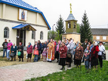 Meeting parish of the Orthodox Church in Kaluga region (Russia) with Orthodox bikers-Christians in 2014. Stock Photos