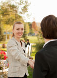 Meeting with partner. And hand shaking Stock Photography