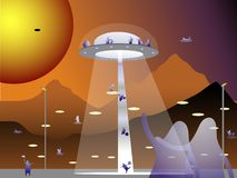 Meeting of passengers. The landing of a space ship at the aerodrome of the planet Mars in the future. Meeting of passengers. Cosmic landscape Royalty Free Stock Photos