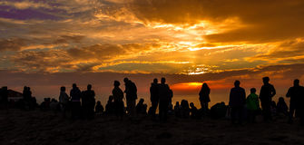 Meeting people in the sunset. At Cape St. Vincent, Portugal Stock Photos