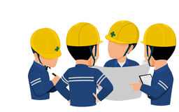 Meeting 4 people. Workers are meeting together on transparent background vector illustration