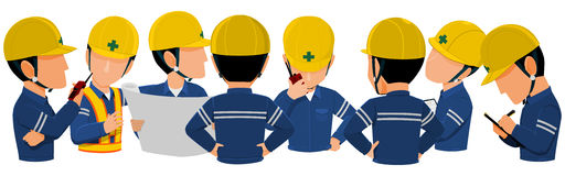 Meeting 8 people. Workers are meeting together on transparent background royalty free illustration