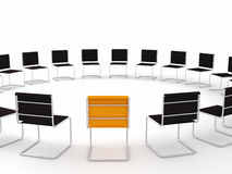Meeting place. With one chair different from others Stock Image