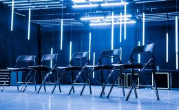 Meeting place with chairs stock image