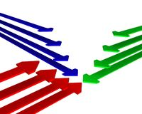 Meeting point 3d. 3 different colored arrows meeting in the middle Stock Images