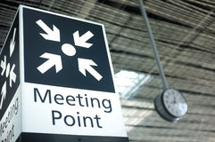 Meeting point sign at the airport Stock Photo