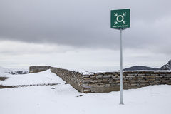 Winter sports meeting Point. Meeting point sign at a snowy winter landscape Stock Photography