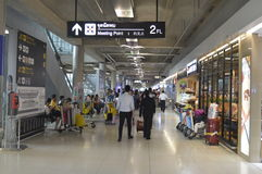 The meeting point of two worlds of Suvarnabhumi Airport Stock Photography