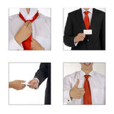 Meeting procedure. There are 4 images which represents how person prepares to meeting with client stock photos
