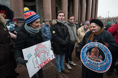 A meeting of protest against the transfer of St. Isaac`s Cathedr Stock Images