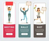 Meeting, rally, riot banners set, angry people with picket signs and bottle. Of molotov cocktail expressing demands and protesting flat vector elements for vector illustration