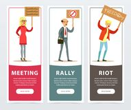 Meeting, rally, riot banners set, angry people with picket signs protesting flat vector elements for website or mobile. App with sample text stock illustration