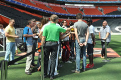 Meeting with reporters on the field. Ahead of the match with Metalurh Zaporizhya, the Shakhtar midfielder Fred answered the questions from journalists August 14 Stock Image