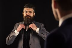Meeting of reputable businessmen, black background. Man with beard on serious face, ties bow tie before meeting. Business meeting concept. Businessmen royalty free stock photography
