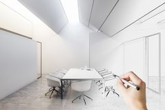 Meeting romo design. Hand drawn meeting room sketch with furniture. Design and engineering concept. 3D Rendering royalty free illustration