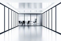 Meeting room. Empty meeting room behind a glass partition in modern cubicle Stock Photo