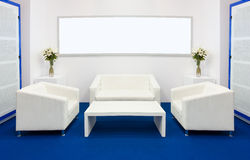 Meeting room. With white sofa and negotiating table stock image